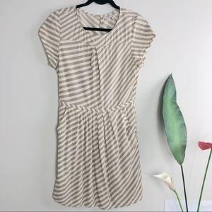 Broadway and Broome tan striped dress